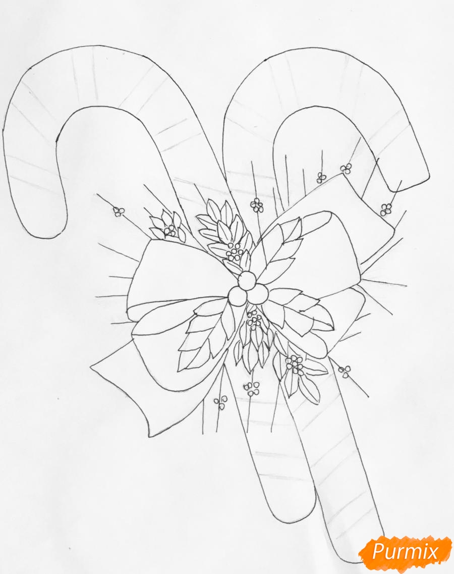 Рисуем новогодние леденцы с веточками ёлочки - шаг 6