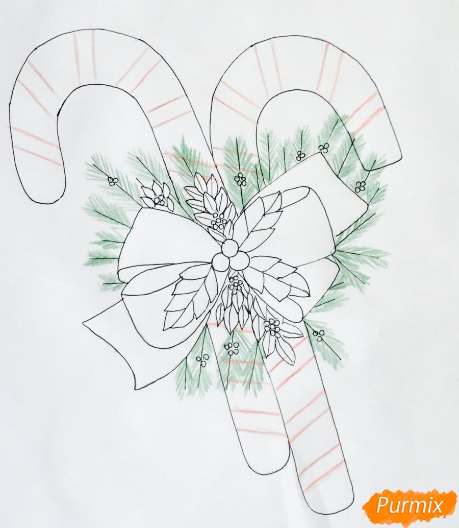 Рисуем новогодние леденцы с веточками ёлочки - фото 7