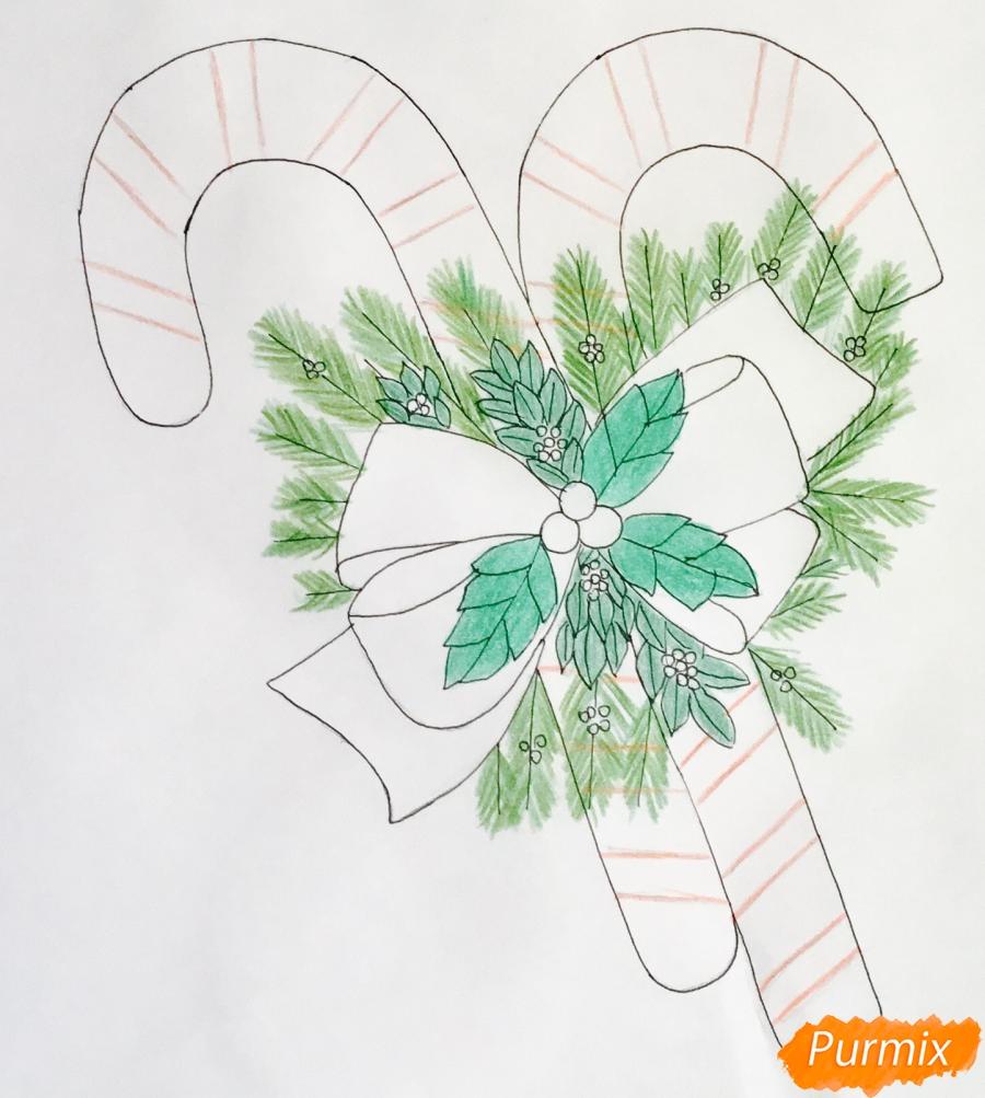 Рисуем новогодние леденцы с веточками ёлочки - фото 8