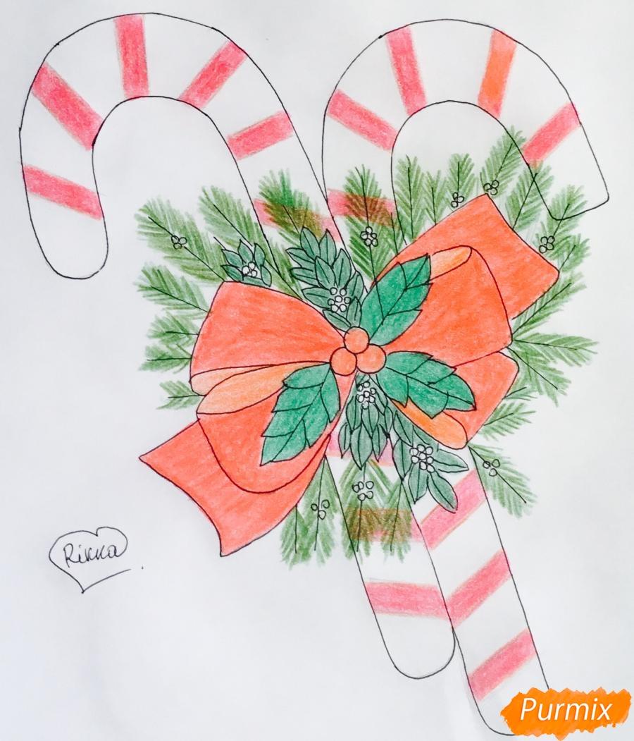 Рисуем новогодние леденцы с веточками ёлочки - фото 9