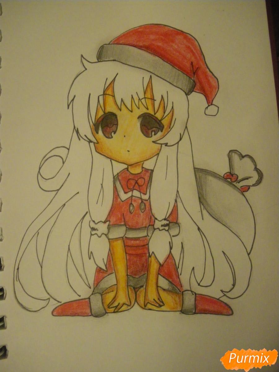 Рисуем новогоднюю чиби девочку в шапке деда мороза - фото 10