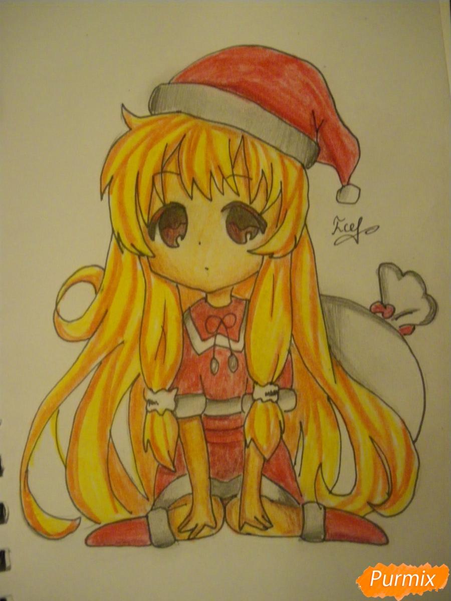 Рисуем новогоднюю чиби девочку в шапке деда мороза - шаг 11