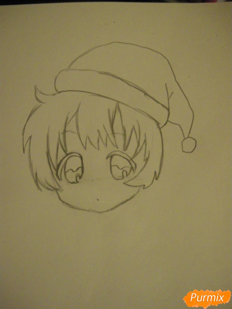 Рисуем новогоднюю чиби девочку в шапке деда мороза - фото 4