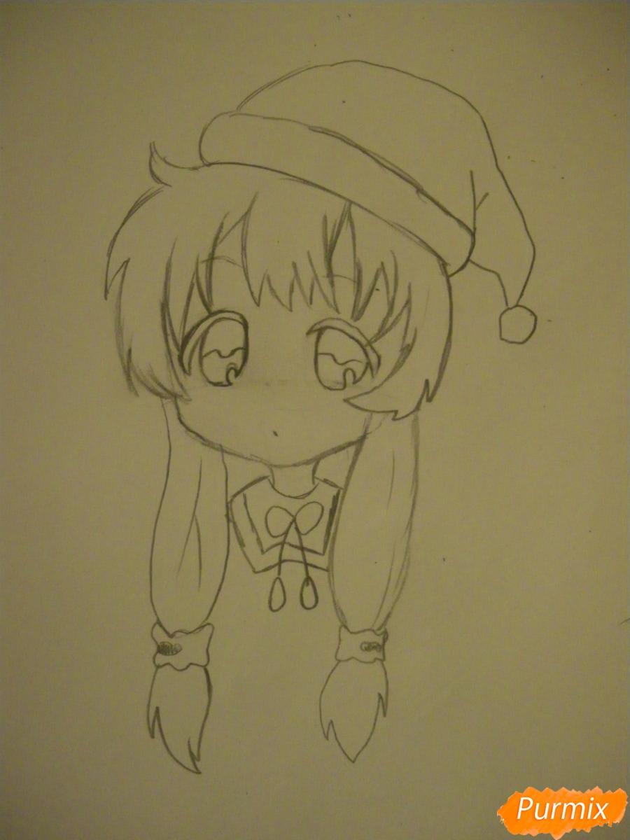 Рисуем новогоднюю чиби девочку в шапке деда мороза - фото 5