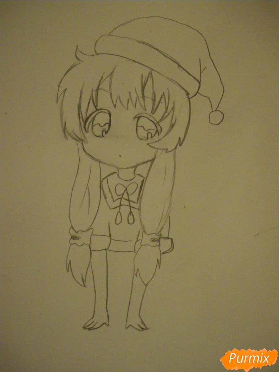 Рисуем новогоднюю чиби девочку в шапке деда мороза - фото 6