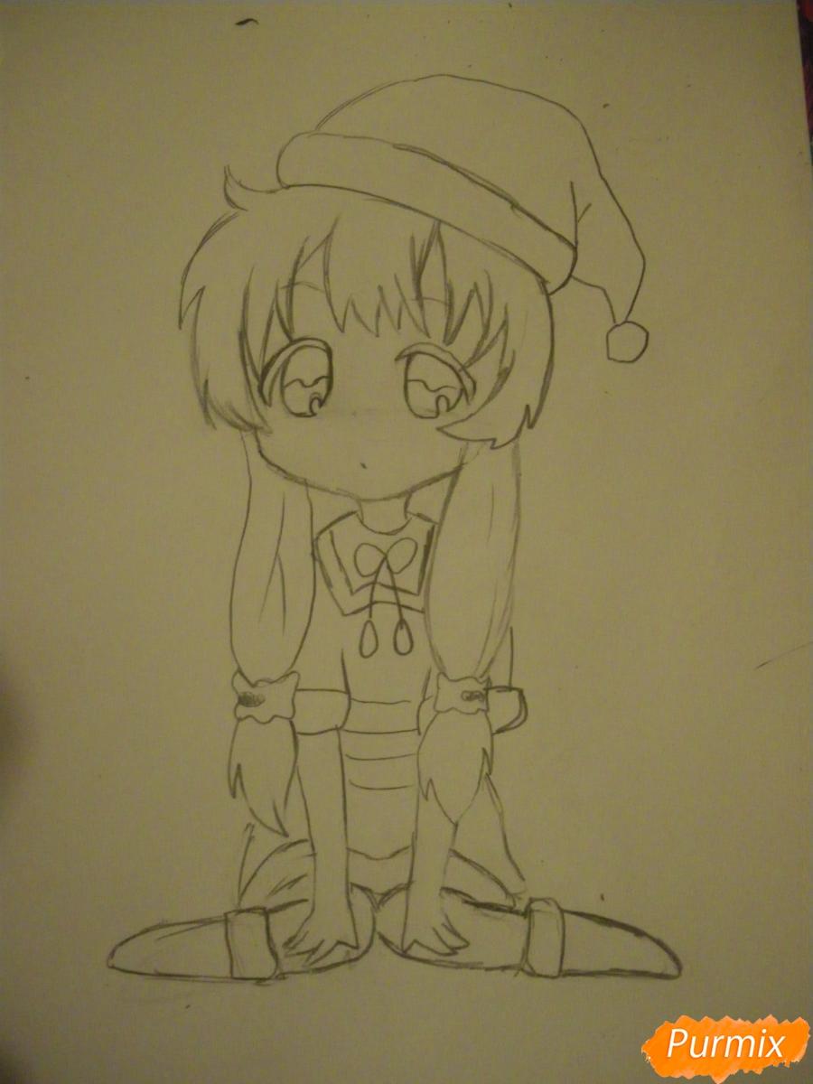 Рисуем новогоднюю чиби девочку в шапке деда мороза - фото 7