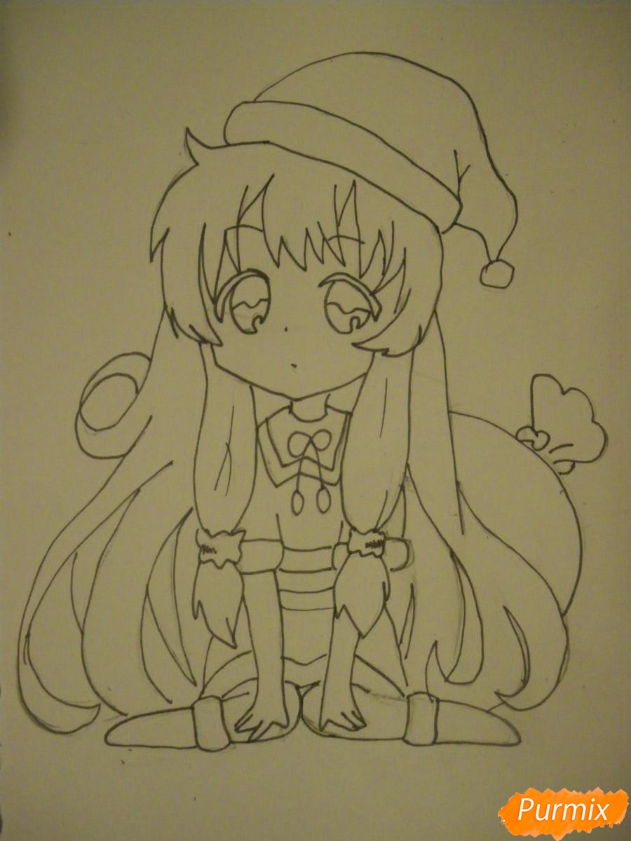 Рисуем новогоднюю чиби девочку в шапке деда мороза - фото 8