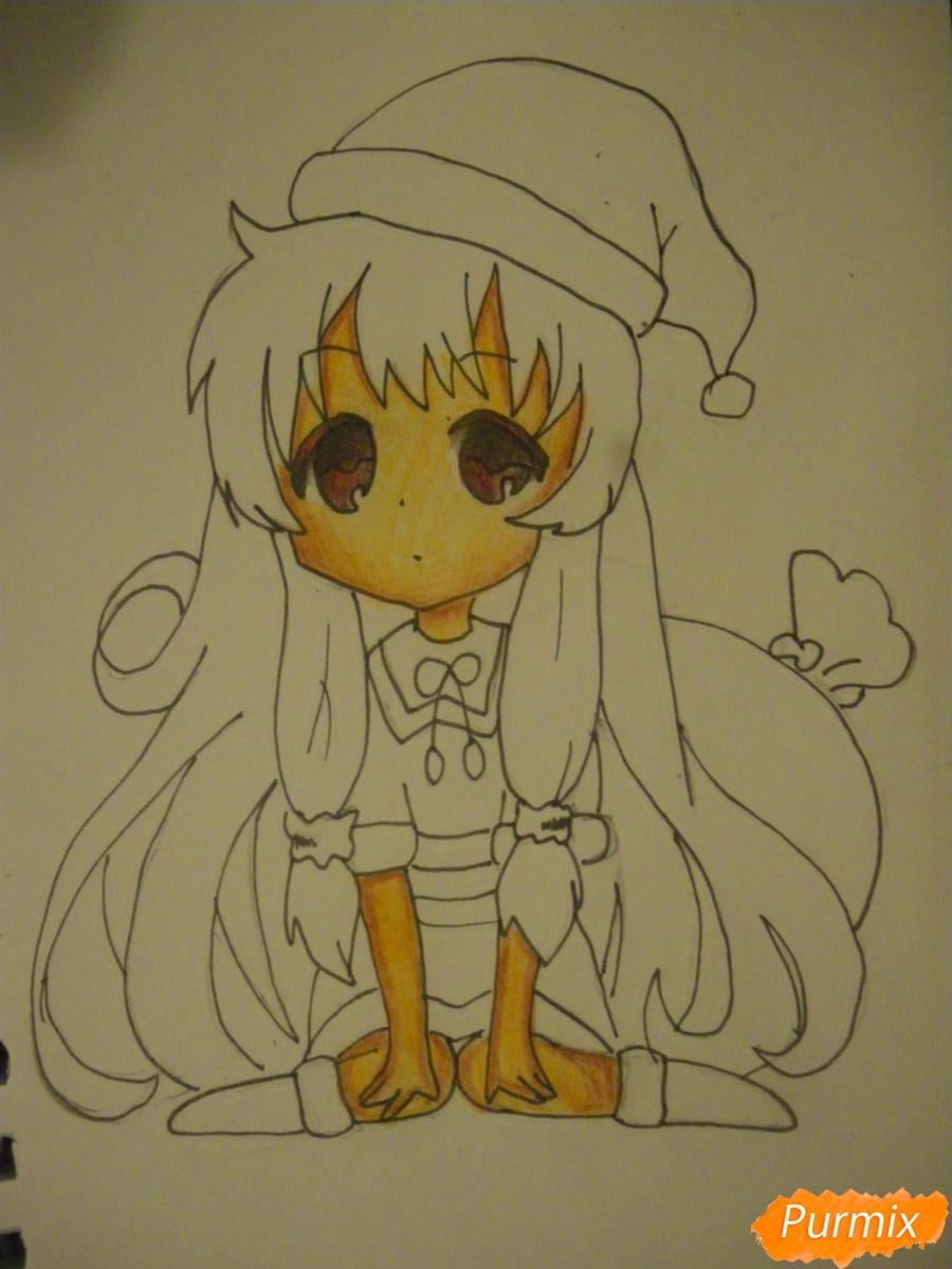Рисуем новогоднюю чиби девочку в шапке деда мороза - фото 9