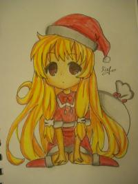 Рисунок новогоднюю чиби девочку в шапке деда мороза