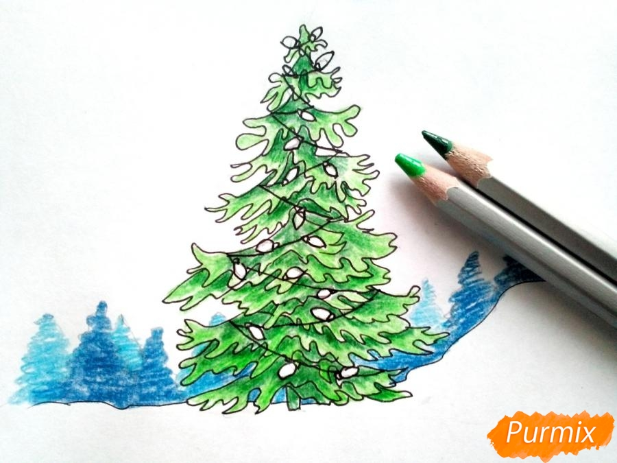 Рисуем новогоднюю елку с гирляндами - фото 6