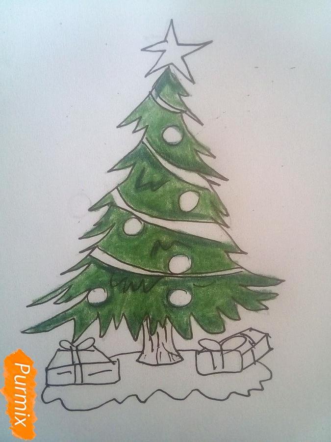 Рисуем новогоднюю ёлку с подарками - фото 6