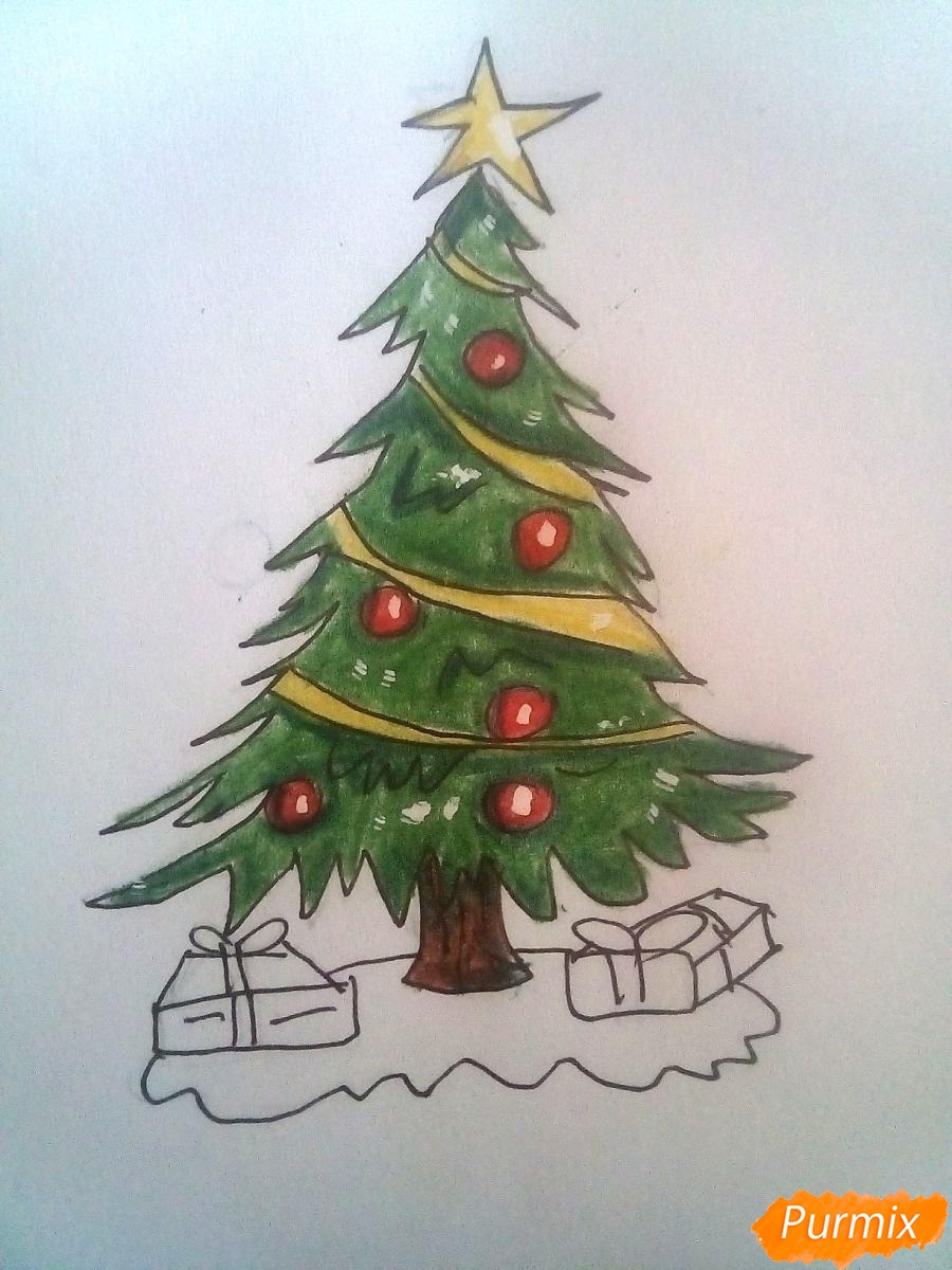 Рисуем новогоднюю ёлку с подарками - фото 7