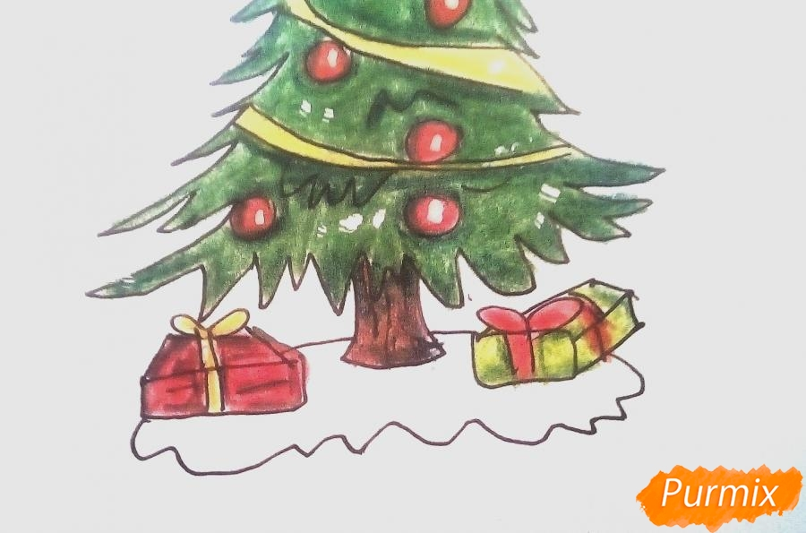 Рисуем новогоднюю ёлку с подарками - фото 8