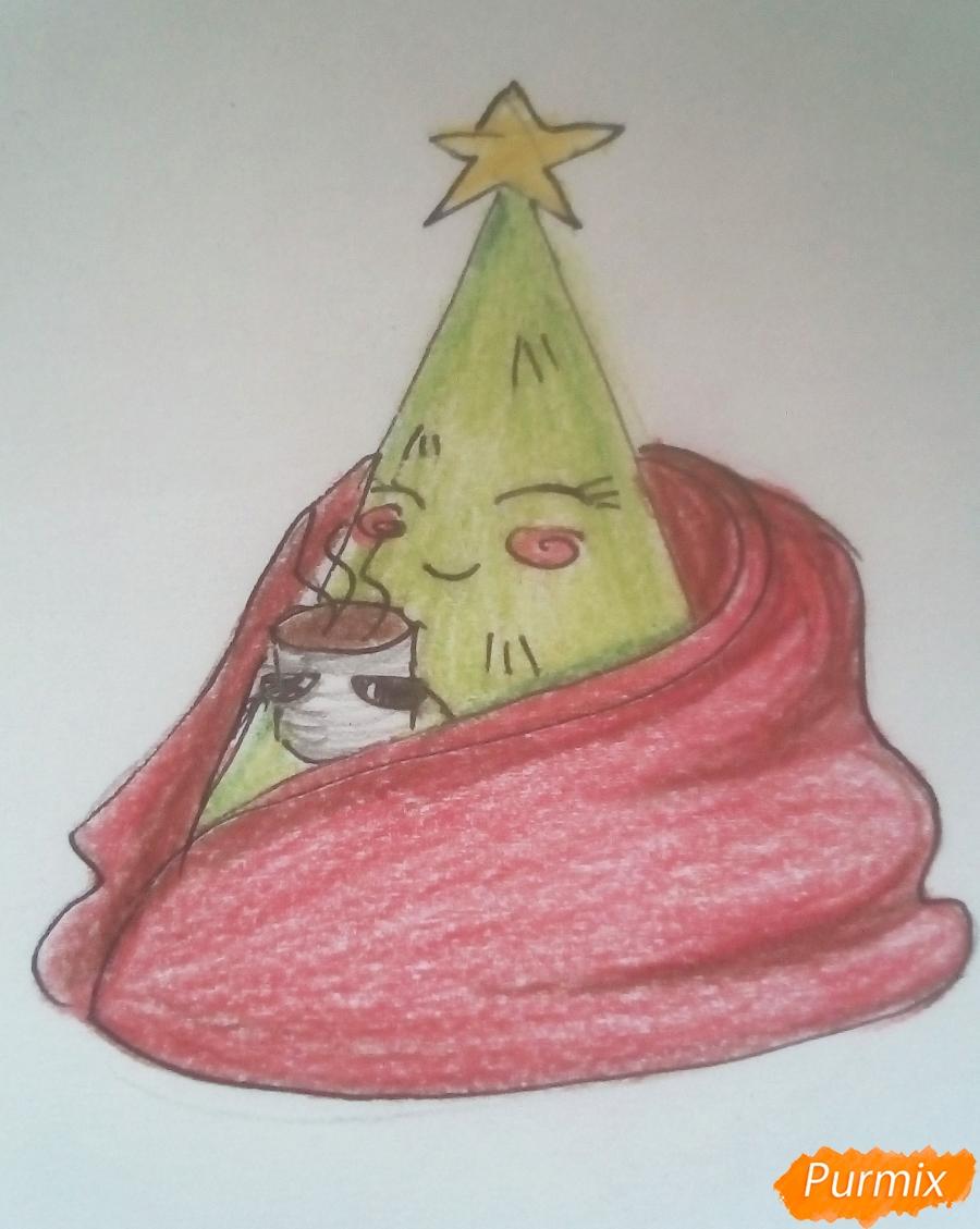 Рисуем ёлку в одеяле с чашкой кофе - фото 4