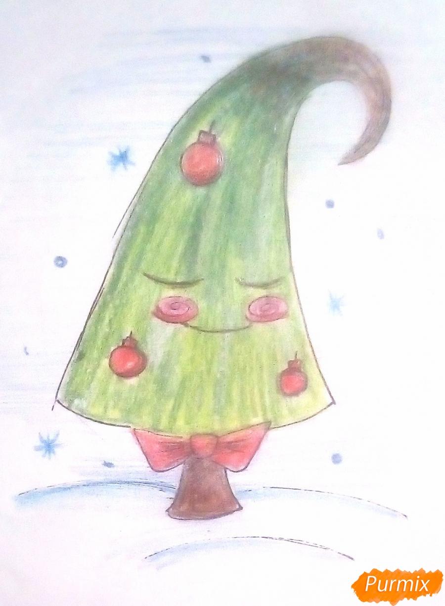 Рисуем новогоднюю ёлку в сказочно-мультяшном стиле - фото 4