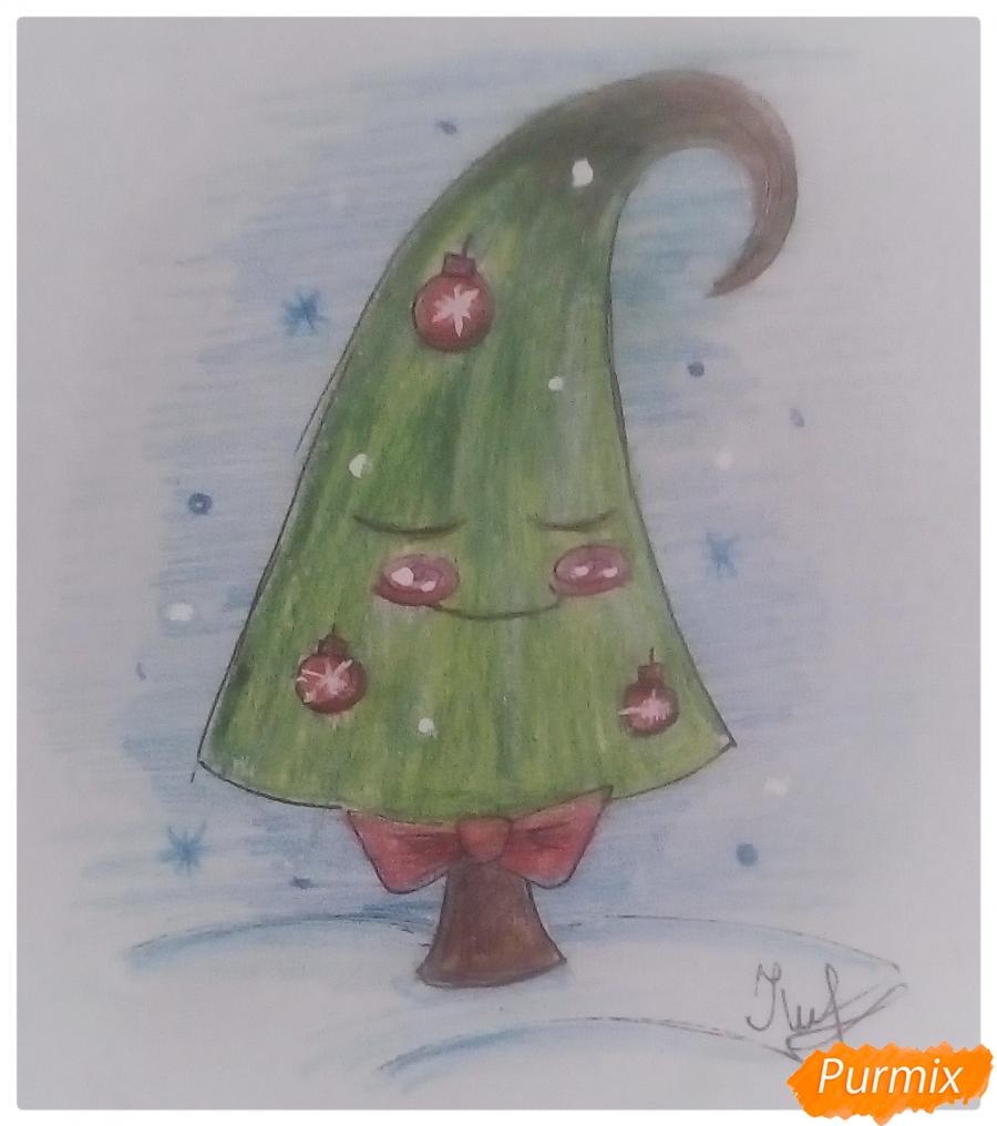 Рисуем новогоднюю ёлку в сказочно-мультяшном стиле - фото 5