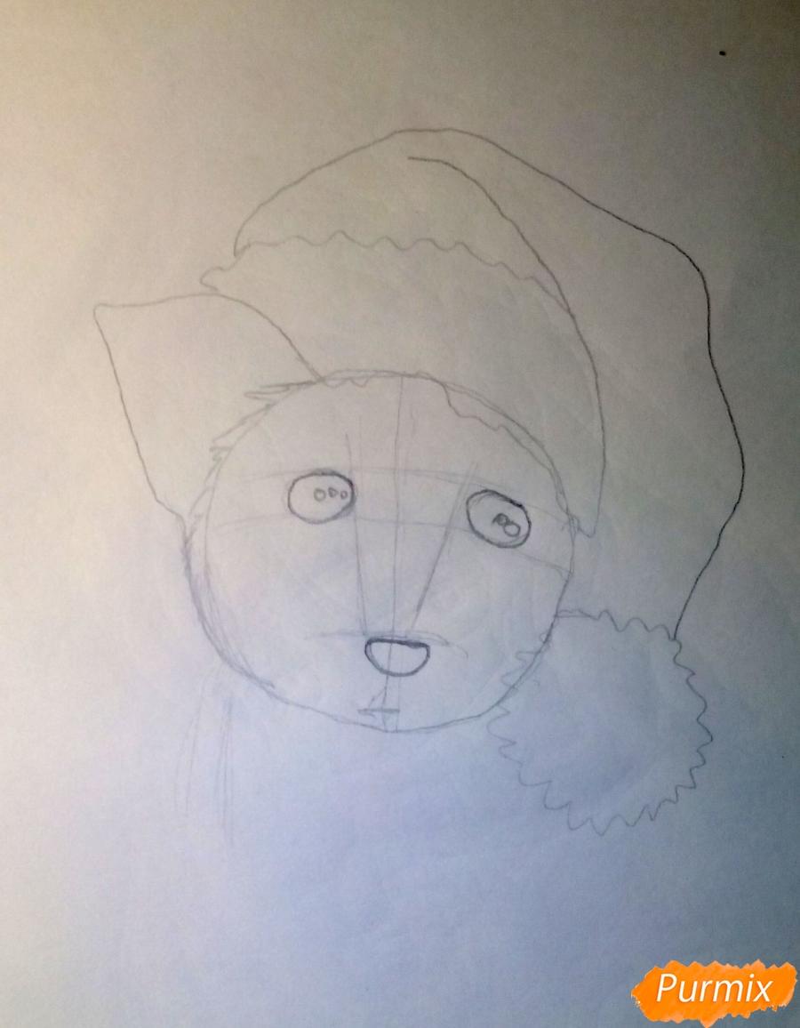 Рисуем новогоднюю собачку цветными карандашами - шаг 2