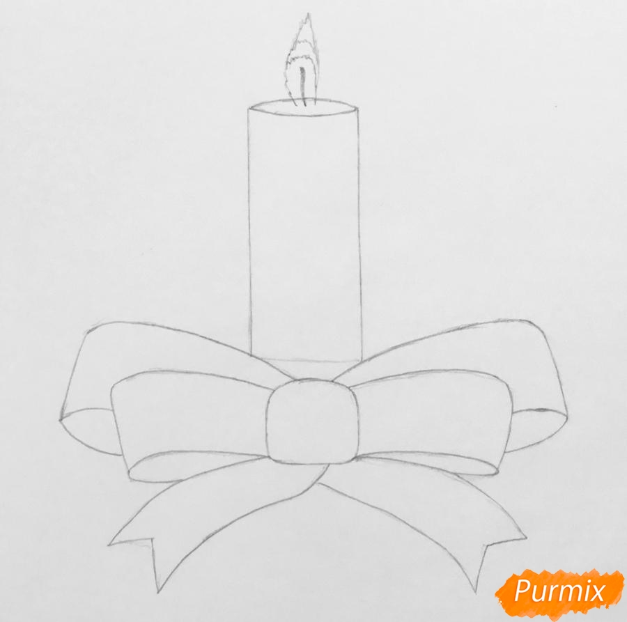 Рисуем красную новогоднюю свечу - шаг 2