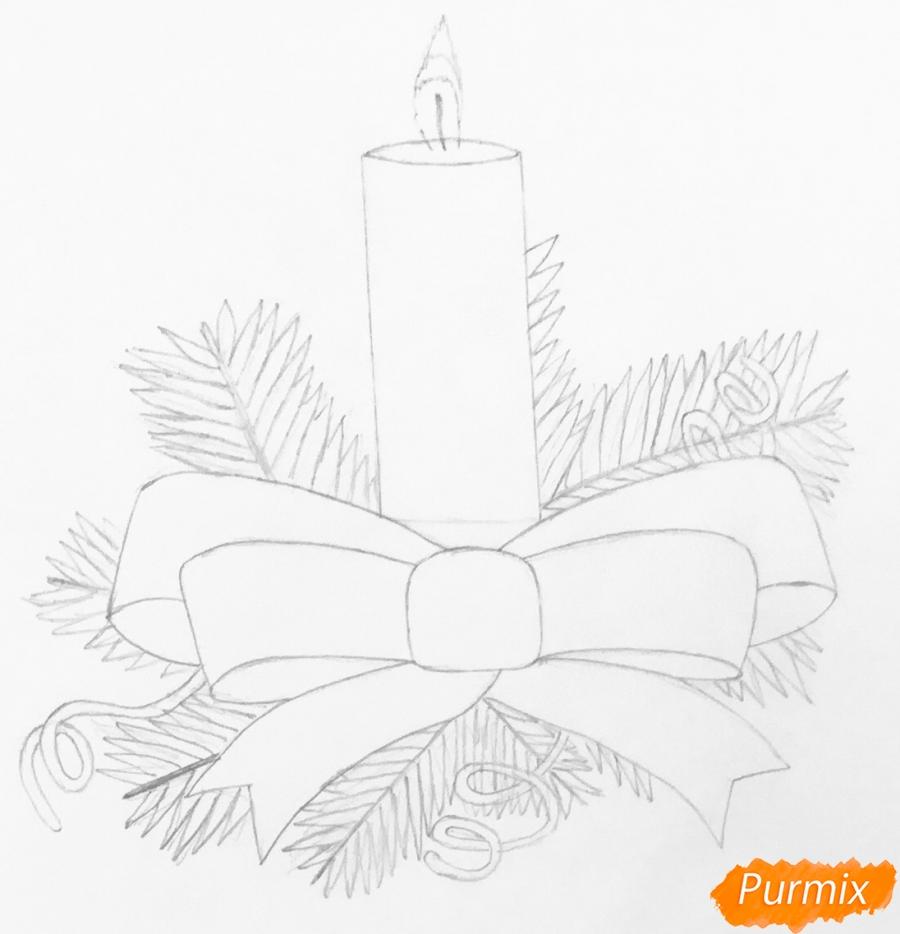 Рисуем красную новогоднюю свечу - шаг 3
