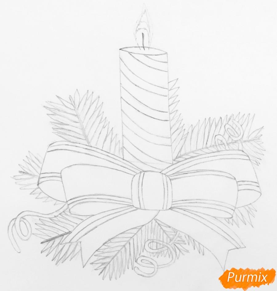 Рисуем красную новогоднюю свечу - фото 4