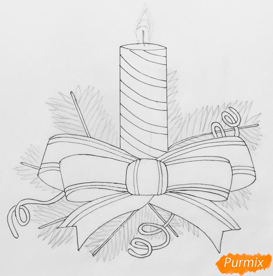 Рисуем красную новогоднюю свечу - шаг 5