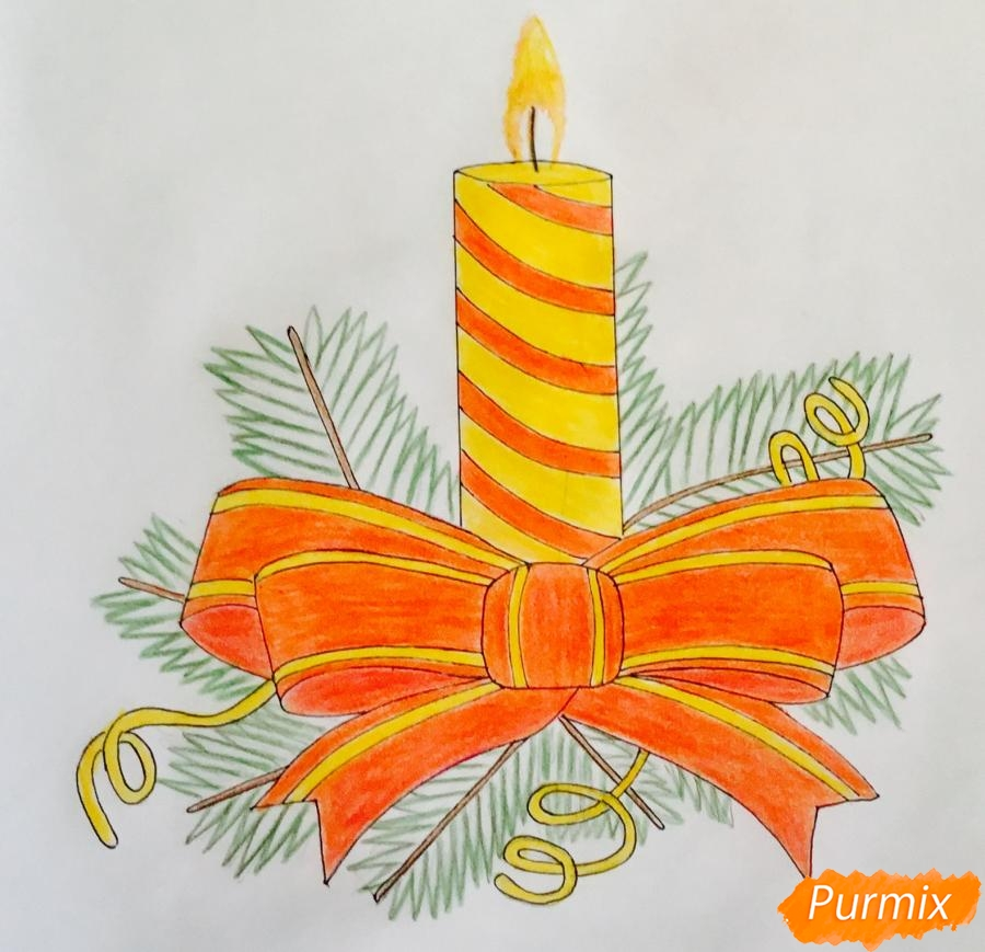 Рисуем красную новогоднюю свечу - фото 8