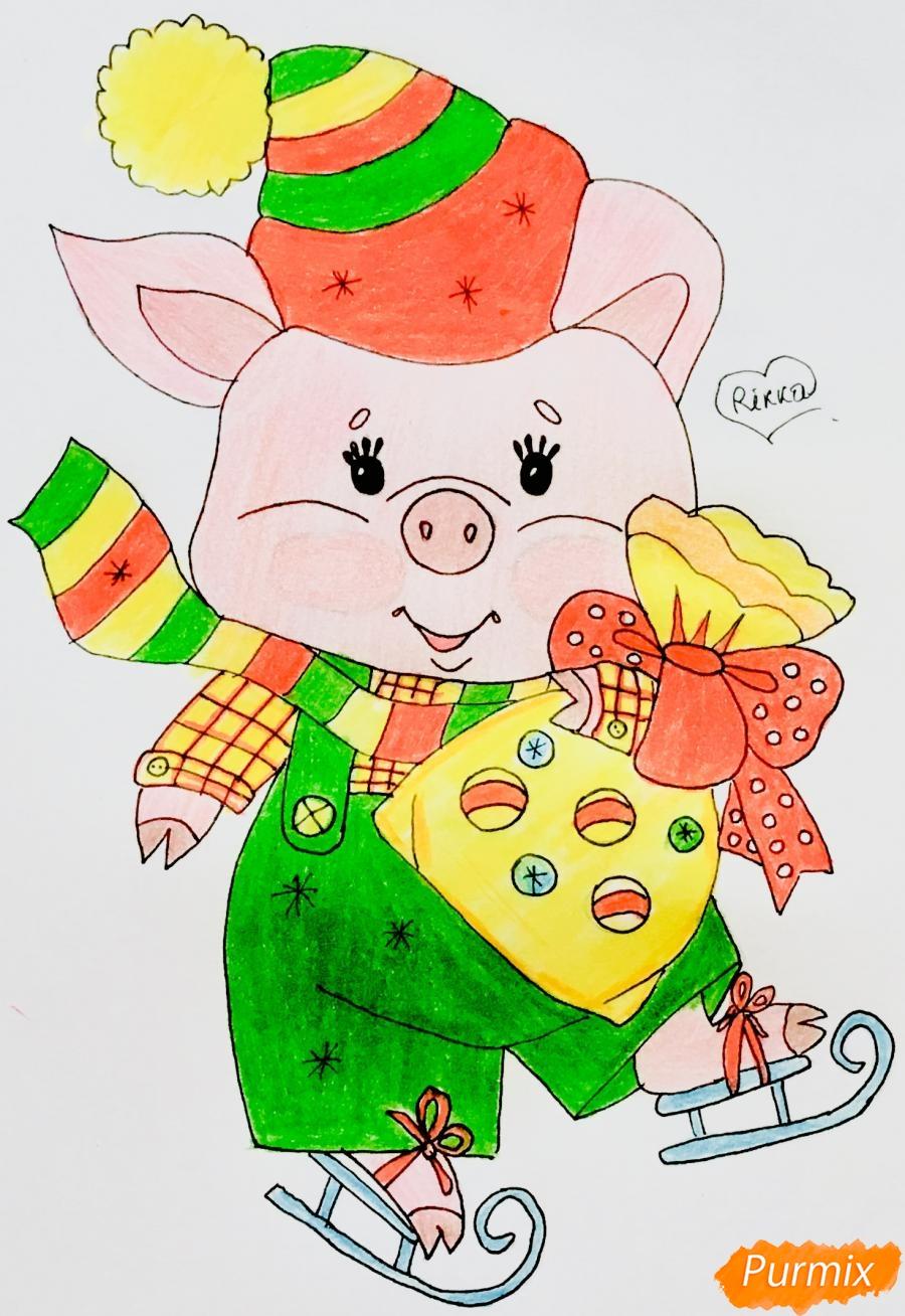 Рисуем новогоднюю свинку на коньках и в шарфике - шаг 10
