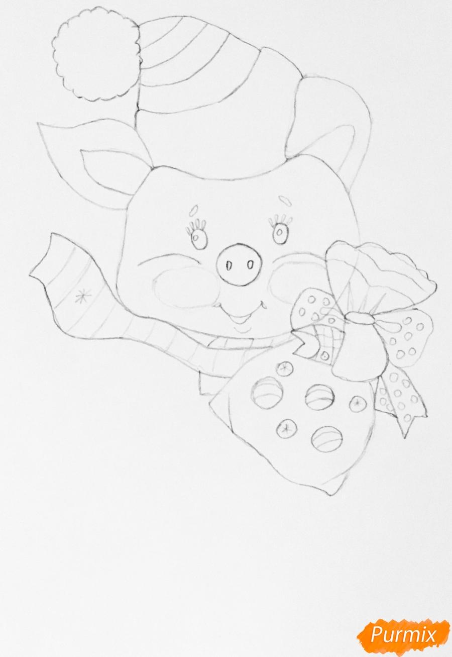 Рисуем новогоднюю свинку на коньках и в шарфике - шаг 4