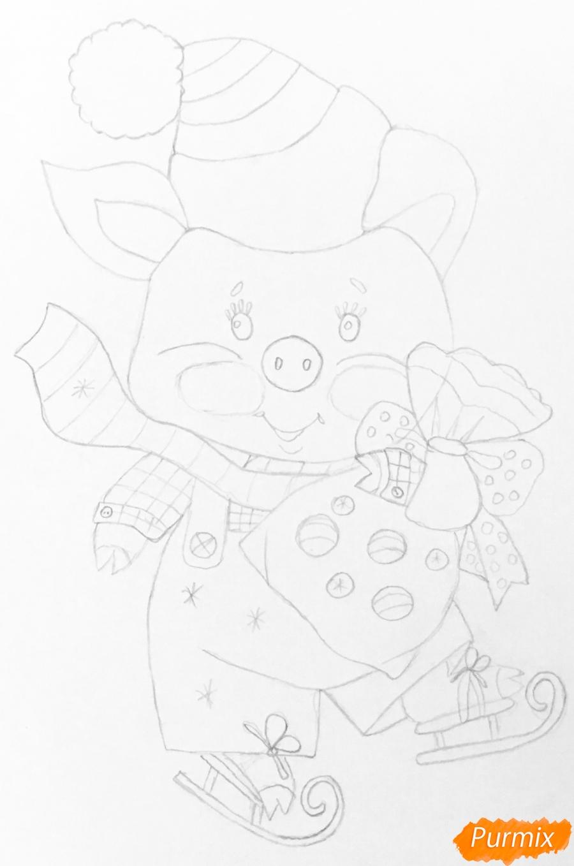 Рисуем новогоднюю свинку на коньках и в шарфике - шаг 5
