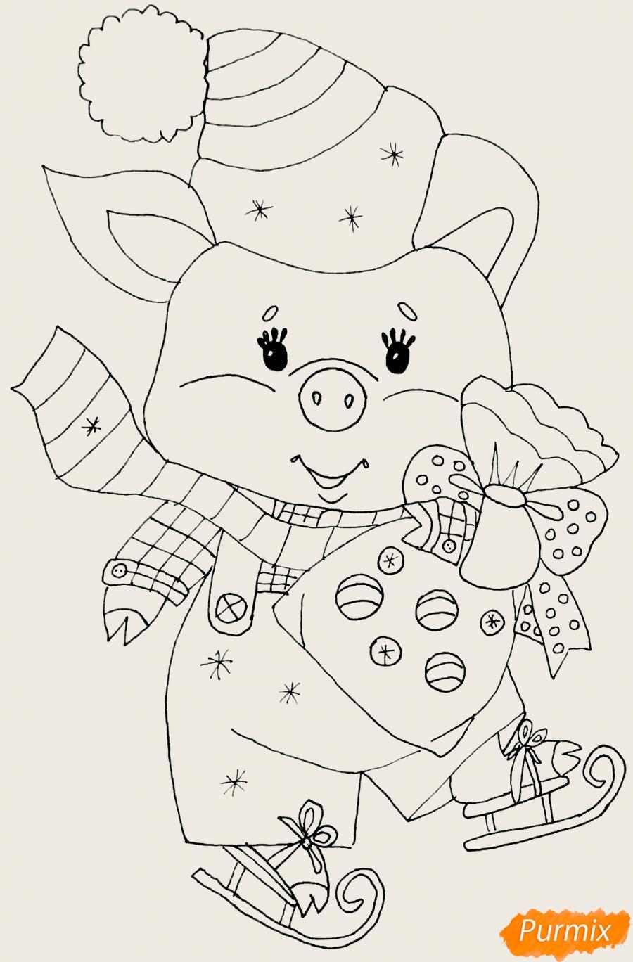 Рисуем новогоднюю свинку на коньках и в шарфике - шаг 6