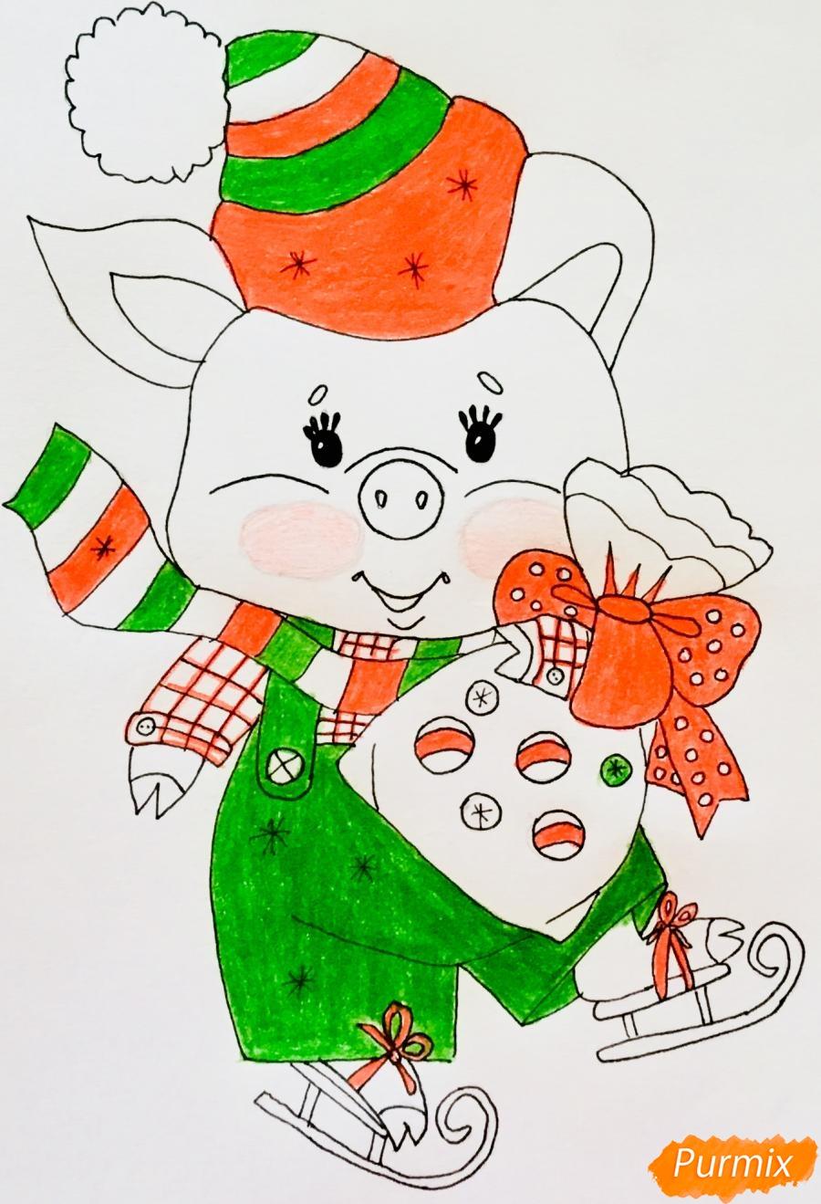 Рисуем новогоднюю свинку на коньках и в шарфике - шаг 8