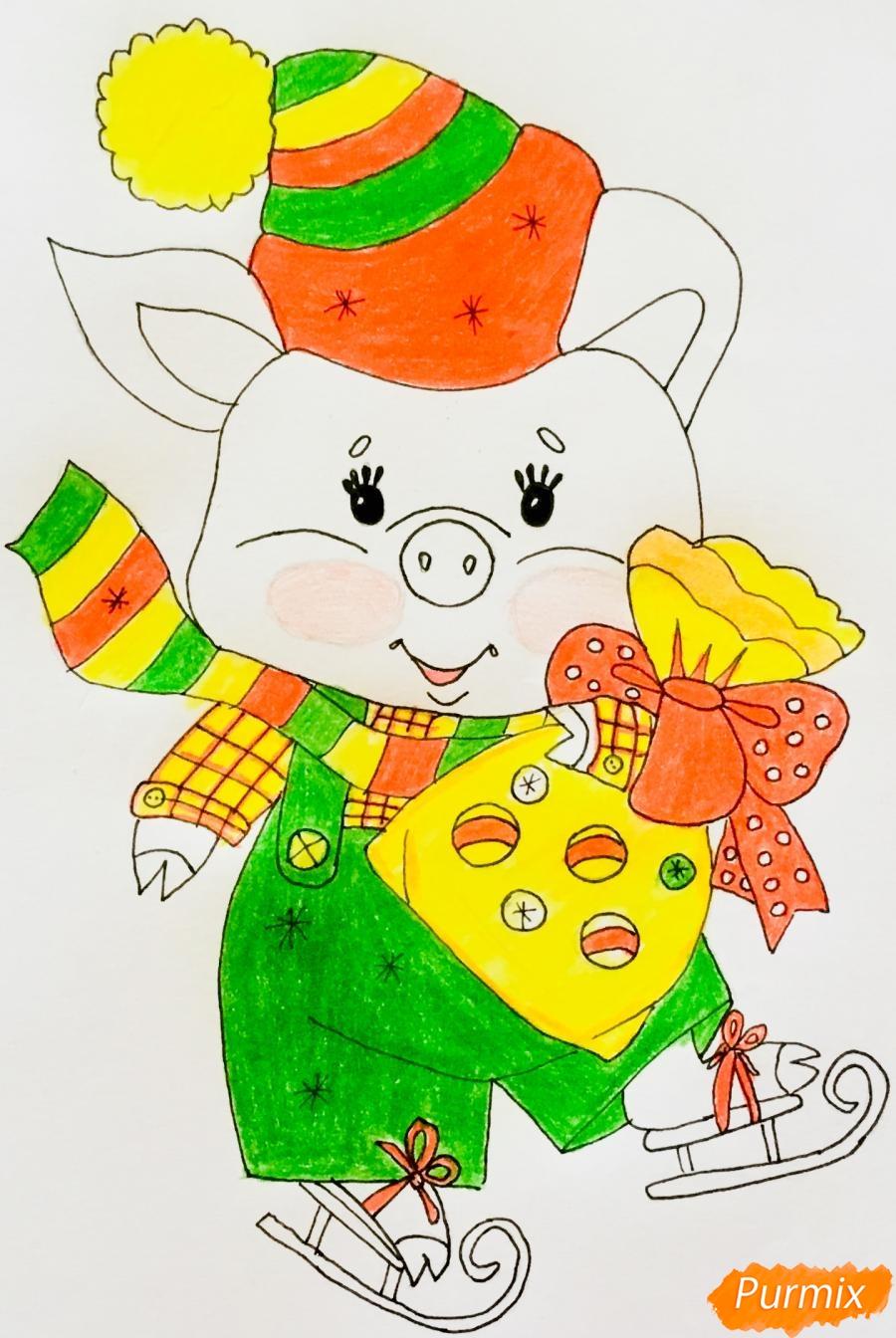 Рисуем новогоднюю свинку на коньках и в шарфике - шаг 9