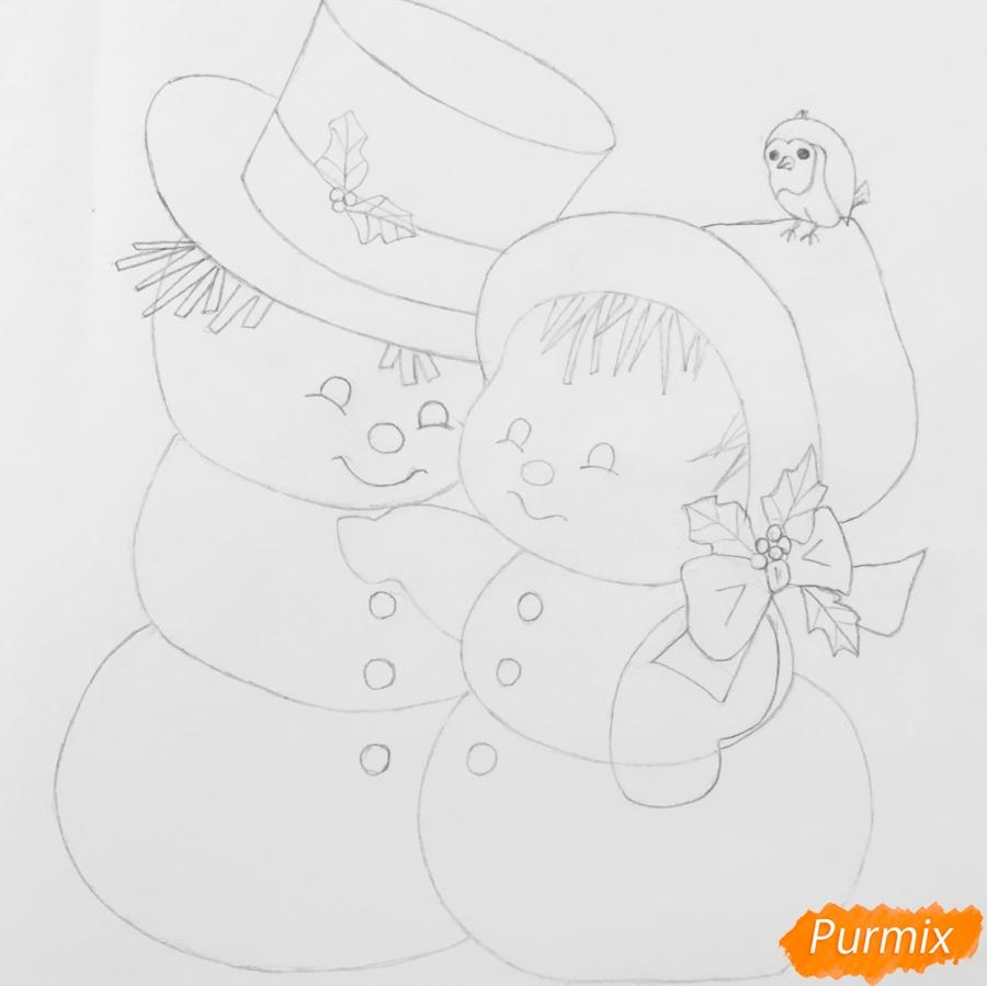 Рисуем новогоднюю влюблённую пару снеговиков - шаг 10