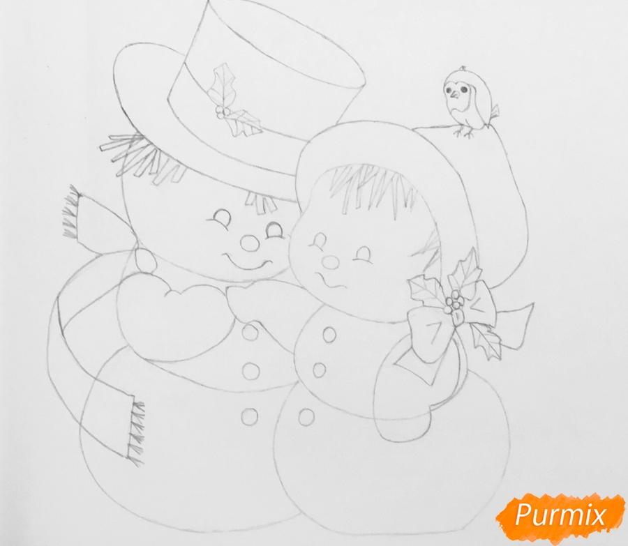 Рисуем новогоднюю влюблённую пару снеговиков - шаг 11