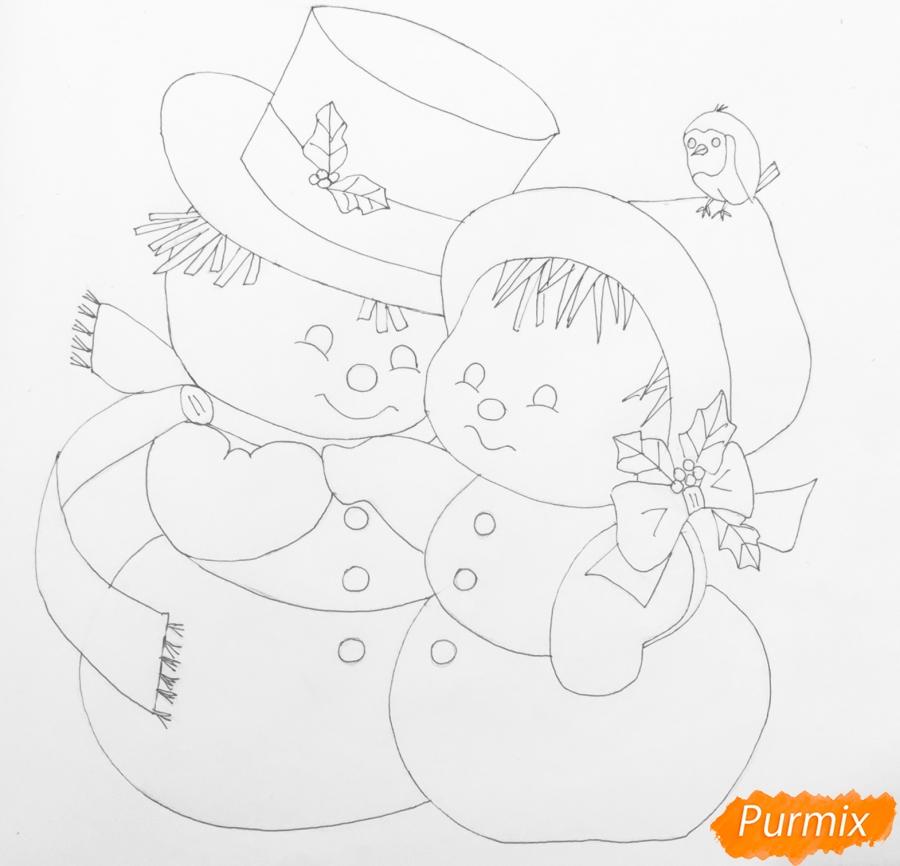 Рисуем новогоднюю влюблённую пару снеговиков - шаг 12