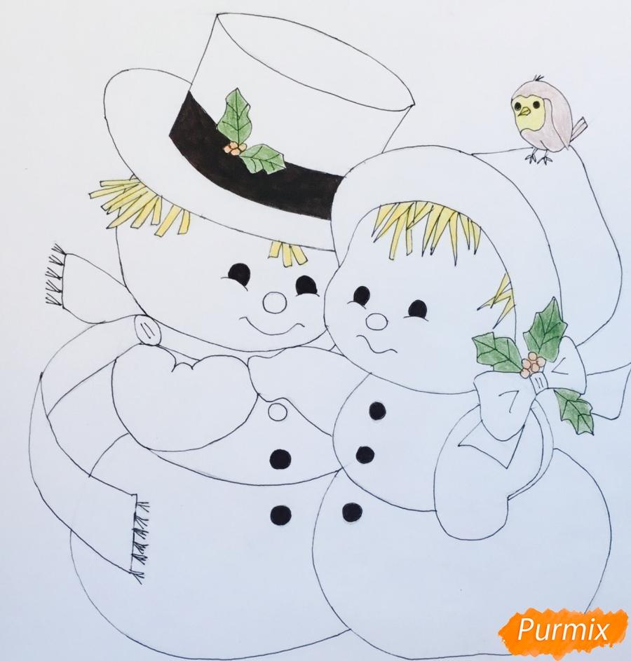 Рисуем новогоднюю влюблённую пару снеговиков - шаг 13
