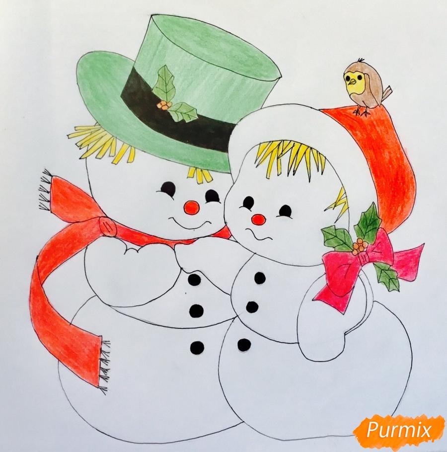 Рисуем новогоднюю влюблённую пару снеговиков - шаг 14