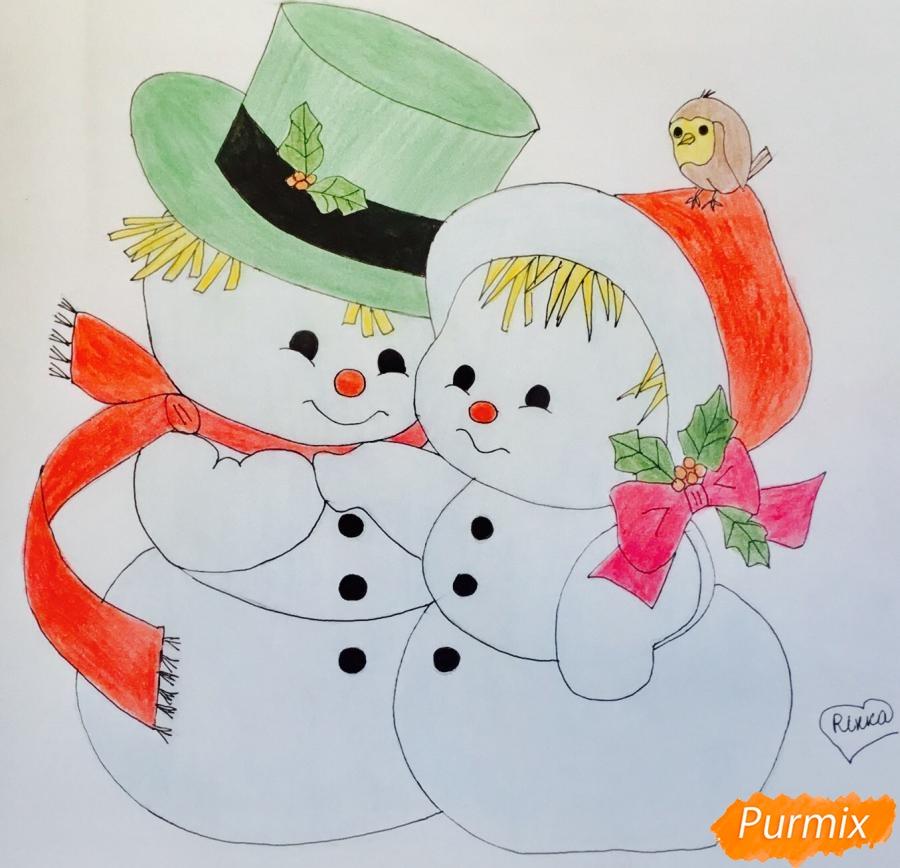 Рисуем новогоднюю влюблённую пару снеговиков - шаг 15