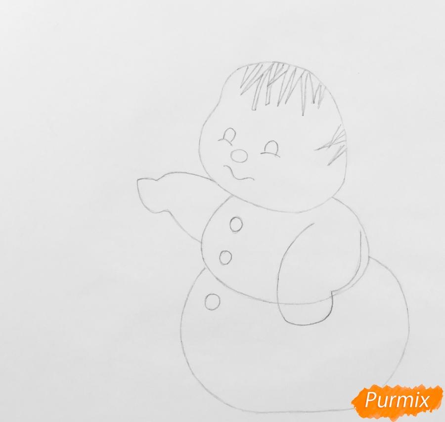 Рисуем новогоднюю влюблённую пару снеговиков - шаг 4