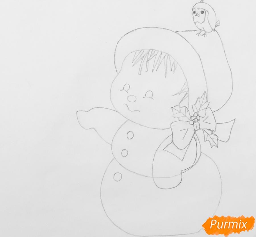 Рисуем новогоднюю влюблённую пару снеговиков - шаг 5