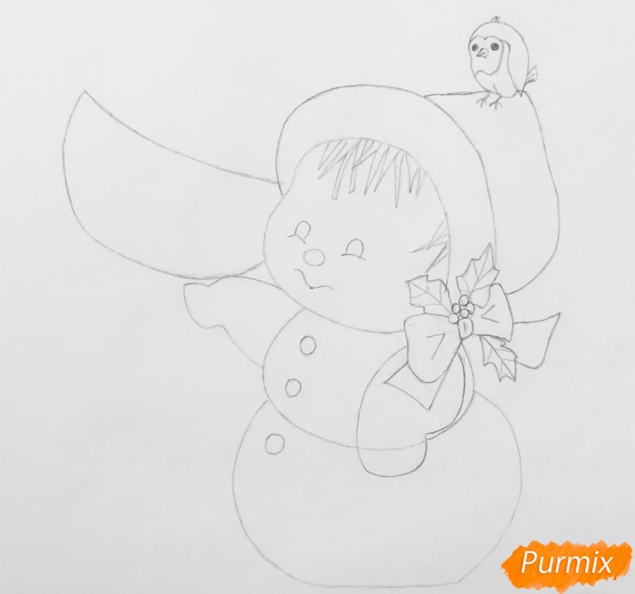 Рисуем новогоднюю влюблённую пару снеговиков - шаг 6