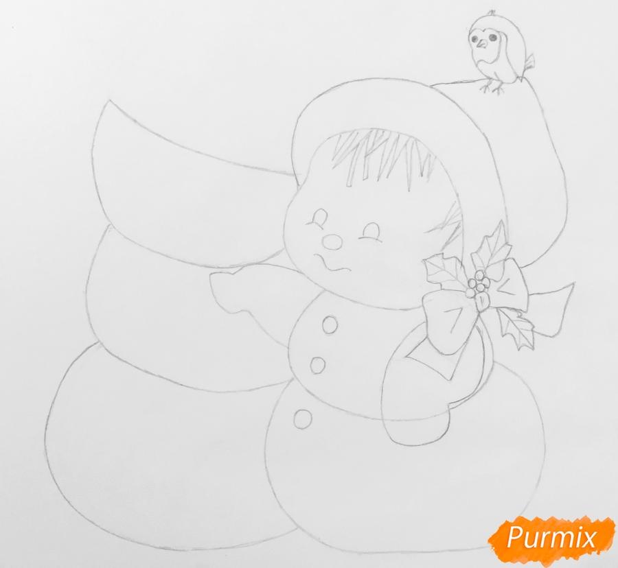 Рисуем новогоднюю влюблённую пару снеговиков - шаг 8