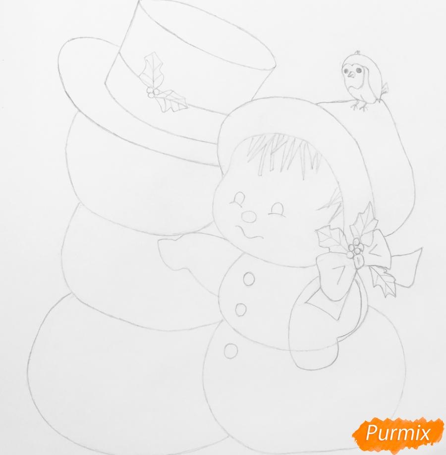 Рисуем новогоднюю влюблённую пару снеговиков - шаг 9