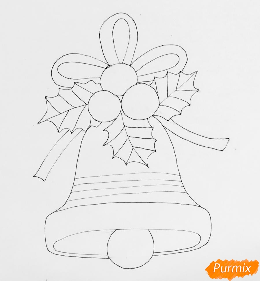 Рисуем рождественский колокольчик с клюквой и листочками от клюквы - фото 5