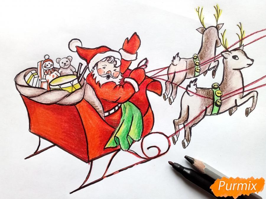 Рисуем сани Деда Мороза с оленями - фото 10