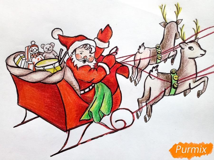 Рисуем сани Деда Мороза с оленями - фото 11