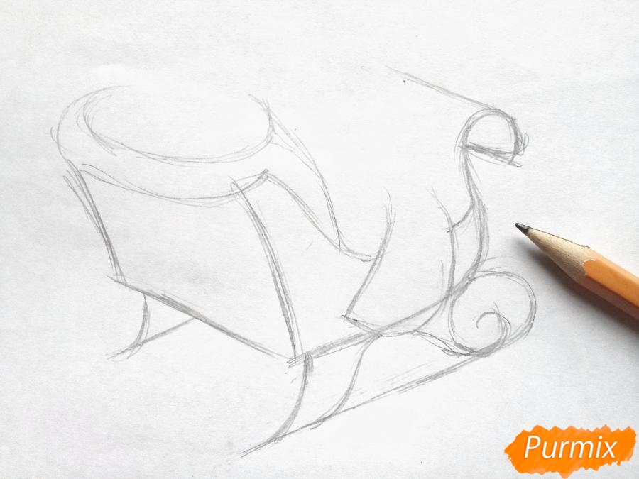 Рисуем сани Деда Мороза с оленями - фото 2