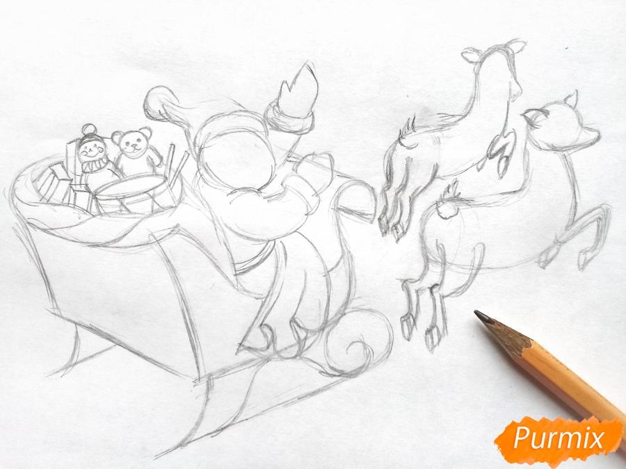 Рисуем сани Деда Мороза с оленями - фото 4
