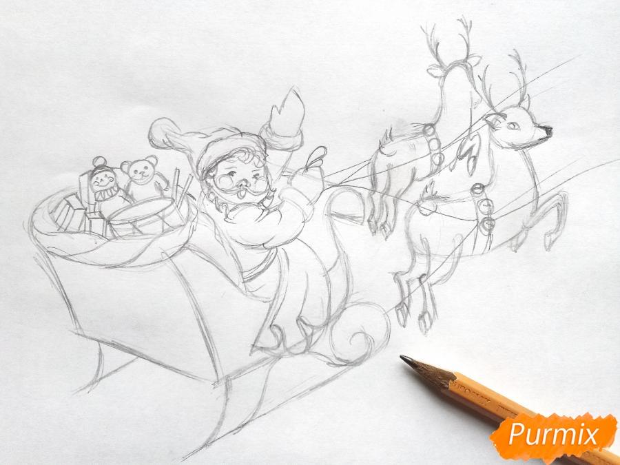 Рисуем сани Деда Мороза с оленями - фото 5