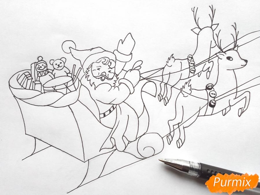 Рисуем сани Деда Мороза с оленями - фото 6